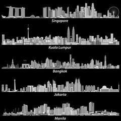 Fototapete - Singapore, Kuala Lumpur, Bangkok, Jakarta and Manila skylines in grey scales palette on black background