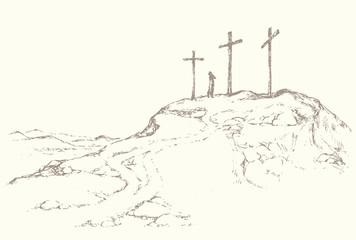 Three crosses stand on  light sky backdrop