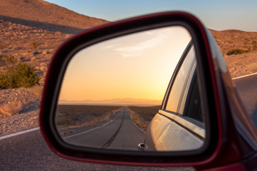 Desert in the reflection of car mirrors, USA