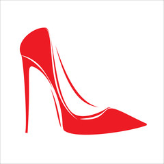 Women's red shoe isolated on white