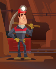 Miner character in coal mine. Vector flat cartoon illustration