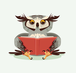 Professor wise owl character reading book. Vector flat cartoon illustration