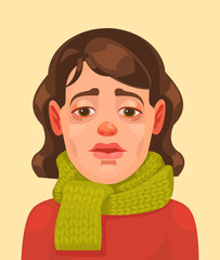Sick woman character. Vector flat cartoon illustration