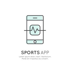Vector Icon Style Illustration Concept of Sports App, Tracker Application, Cardio Training, Pulse Screen, Isolated Symbol for Web, Mobile or T-Shirt Design