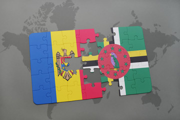 puzzle with the national flag of moldova and dominica on a world map