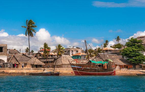 Lamu old town waterfront, Kenya, UNESCO World Heritage site