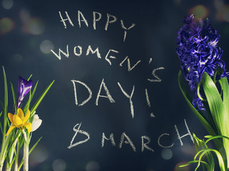8 March, Happy Womens day with spring flowers