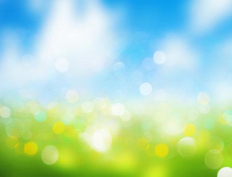Spring blurred background sky grass illustration.