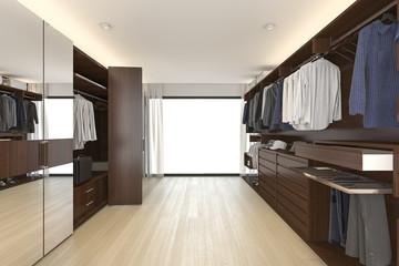 3d rendering beautiful wood horizontal wardrobe and walk in closet near window