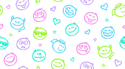 funny hand drawn smiles seamless pattern, emoji background