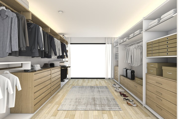 3d rendering minimal white wood walk in closet