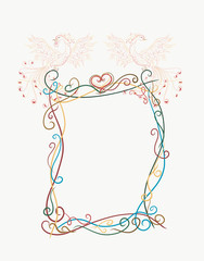 Elegant frame with beautiful and bright Sunbird, phoenix, painted lines with swirls