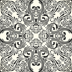 Vector seamless black pattern with art ornament. Vintage elements for design in Victorian style