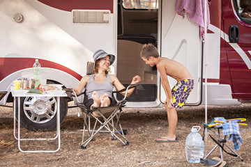 Croatia, Dalmatia, Family Holidays on Camp Site, mother and son