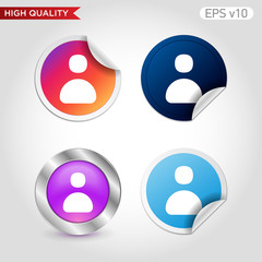 Colored icon or button of user symbol with background