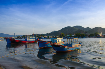 Printed roller blinds City on the water beautiful beach landscape with Vietnamese traditional fishing boat
