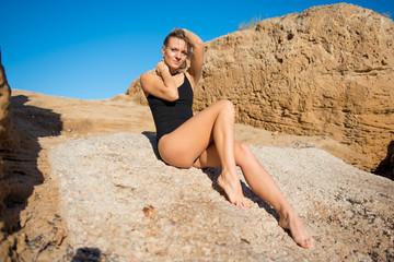 Fotobehang Beautiful girl with swimsuit outdoors