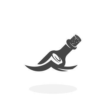 Message in a bottle floating on the wave Icon. Vector logo on white background