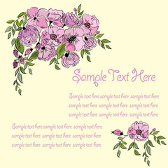 Greeting card floral banner with space for text on a yellow background.