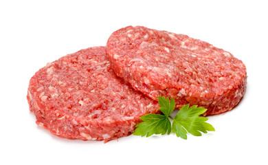 Raw hamburger meat on white