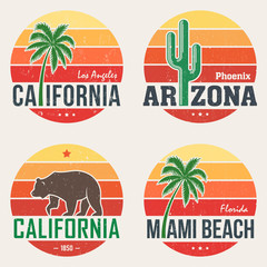 Set of California, Arizona, Miami t-shirt tee prints