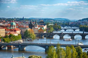 Prague bridges, aerial cityscape, Czech Republic