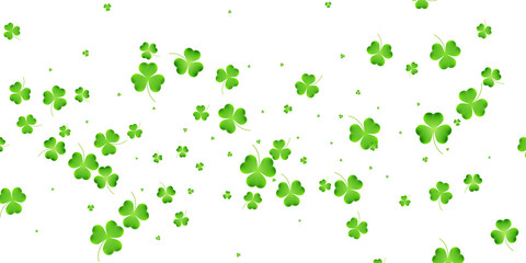 Clover flying leaves background. Saint Patrick's Day banner. Three leaf clover leaves