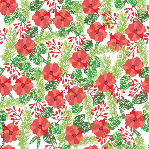 Simple seamless pattern with flowers. Red flowers on a white