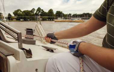 Man setting the sail