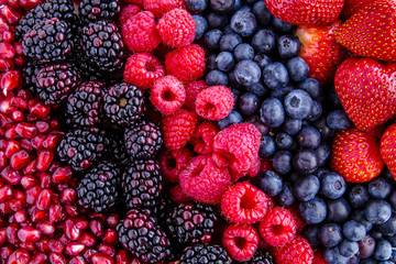 Assorted Fresh Berries and Pomegranate Seeds