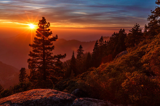 Sunset From Kings Canyon Sierra Nevada Mountains