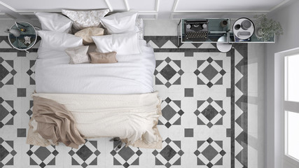 Classic bedroom, top view, with marble old vintage gray tiles