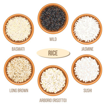 Different types of rice in bowls. Basmati, wild, jasmine, long brown, arborio, sushi