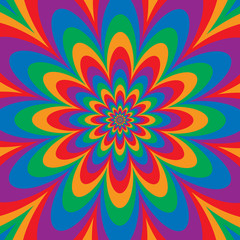 Infinite Flower optical illusion design in primary and secondary colors.