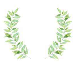 Hand drawn watercolor illustration. Wreath with Spring leaves. Floral design elements. Perfect for invitations, greeting cards, blogs, posters and more