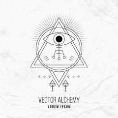 Vector geometric alchemy symbol