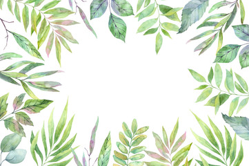 Hand drawn watercolor illustration. Label with Spring leaves. Floral design elements. Perfect for invitations, greeting cards, blogs, posters and more