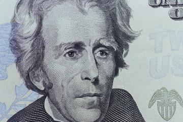 US President Jackson face on  twenty or 20 dollars bill