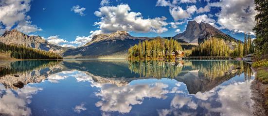 180 degree panorama of Emerald Lake in Yoho National Park, British Columbia, Canada.