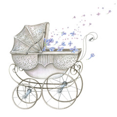 Watercolor Retro Baby Carriage with Blue Flowers