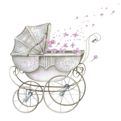 Watercolor Retro Baby Carriage with Pink Flowers
