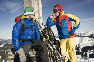 Backcountry skiers taking a break, Alpbachtal, Tyrol, Austria, Europe