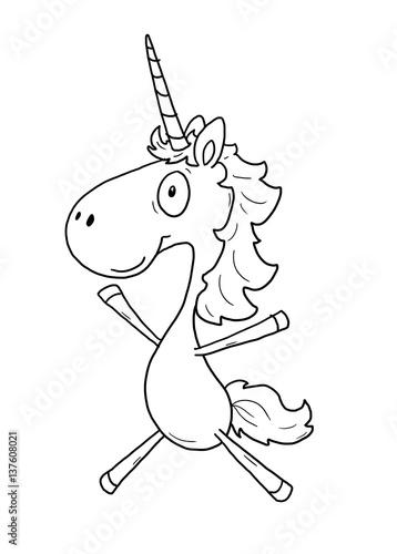 """ausmalbild einhorn  springen"" stock photo and royalty"