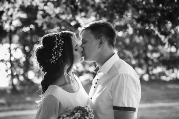 Couple kissing, black and white photo