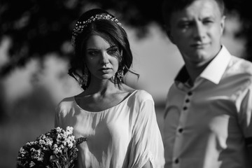 Fashion couple, black and white photo