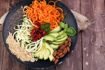 superfood: bowl with zucchini carrot noodles, avocado, goji and chia seeds on wooden background