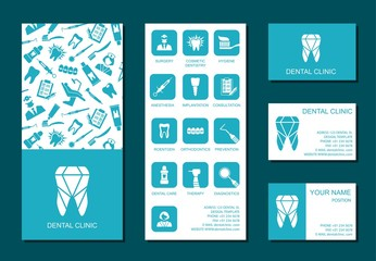 Template of flyer and business cards for dental clinic