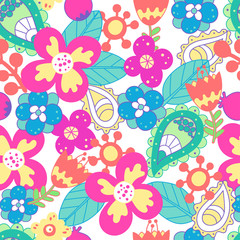 Beautiful floral seamless pattern. Bright illustration, can be used for creating card, invitation card for wedding,wallpaper and textile.