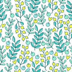 Seamless spring pattern with  berries and twigs with leaves. Hand drawn vector illustration.
