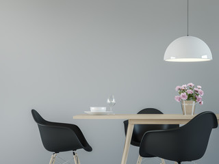 Modern dining room interior with black & white 3d rendering image.There are minimalist style ,Empty grey wall,black chair and wood desk